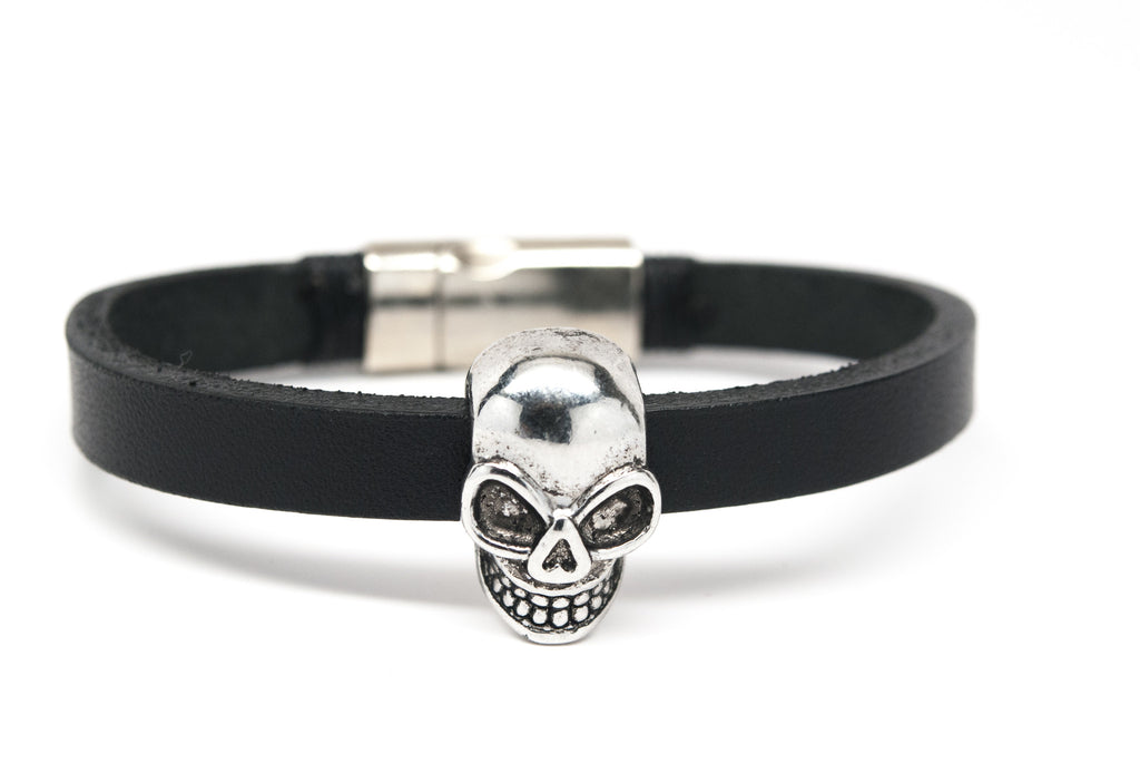 Skull Black Leather Unisex Bracelet - Orti Jewelry