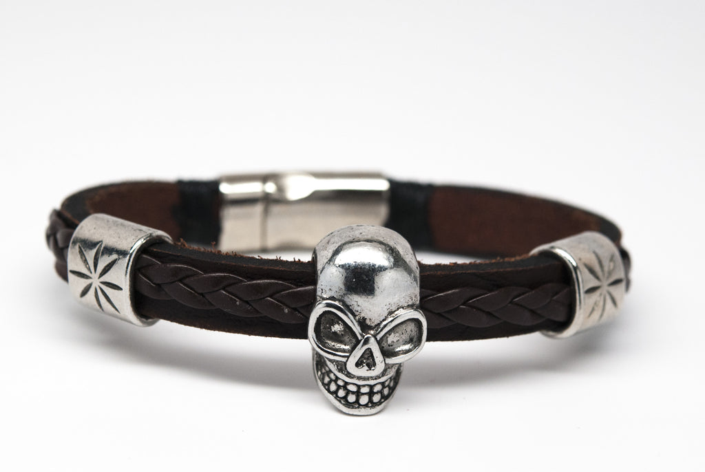 Skull Black and Brown Leather Unisex Bracelet - Orti Jewelry