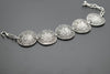 Round Antique Silver Plated Vintage Bracelet with Adjustable Length