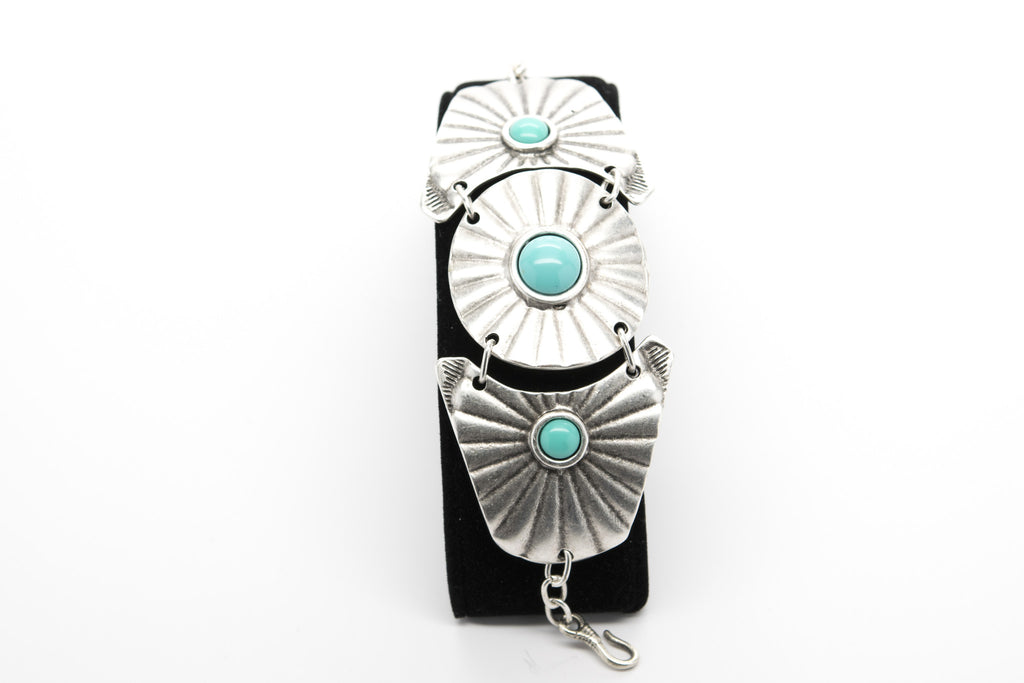 Turquoise Stone Antique Silver Plated Vintage Bracelet with Adjustable Length - Orti Jewelry