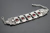 Red Stone Eye Antique Silver Plated Vintage Bracelet with Adjustable Length