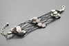 Flowers Antique Silver Plated Vintage Bracelet with Adjustable Length - Orti Jewelry