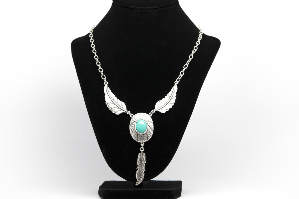 Turquoise Stone Feather Leaves Antique Silver Plated Vintage Necklace with Adjustable Length - Orti Jewelry