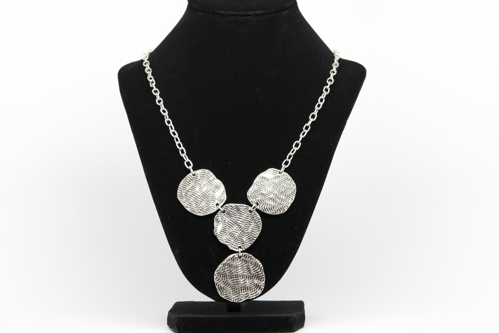 Y Rounds Antique Silver Plated Vintage Necklace with Adjustable Length