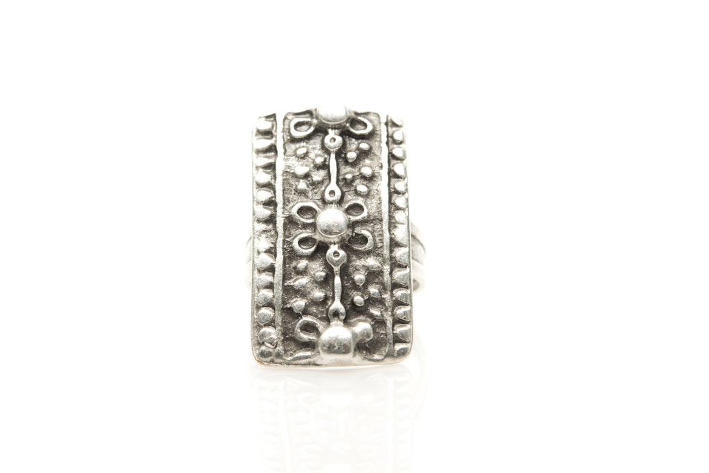 Antique Flower Silver Plated Adjustable Ring - Orti Jewelry