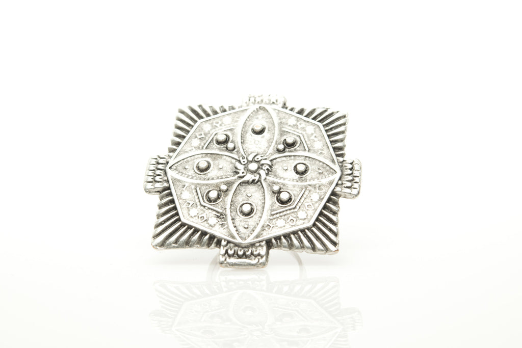 Antique Plate Silver Plated Adjustable Ring - Orti Jewelry