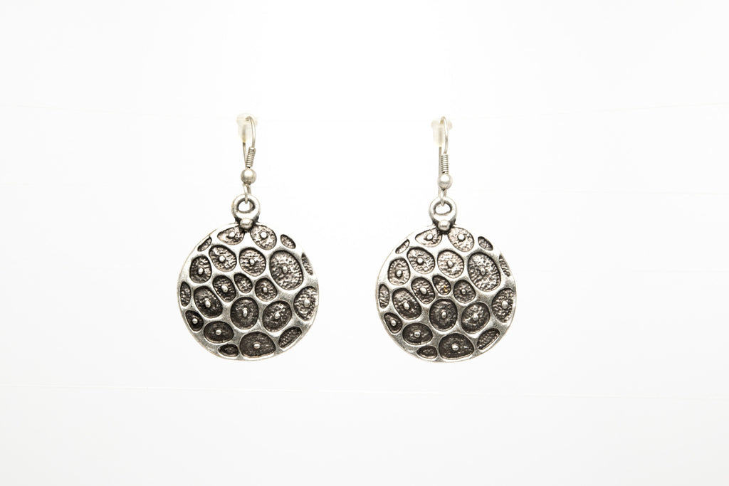 Turtle Silver Plated Dangle Earrings with Antique Look - Orti Jewelry