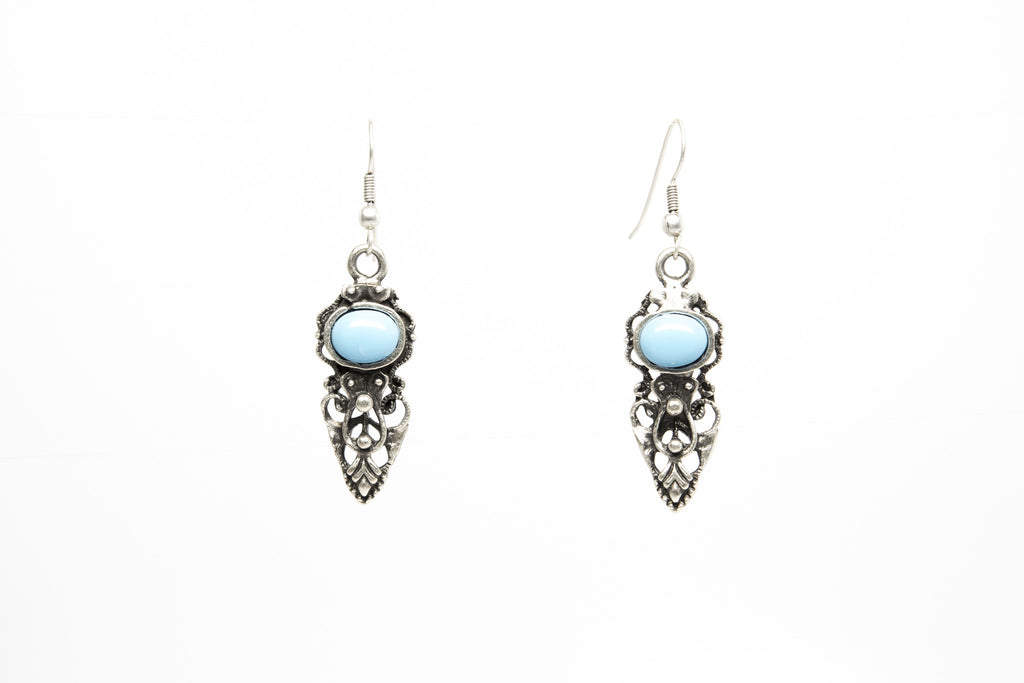Turquoise Stone Silver Plated Dangle Earrings with Antique Look - Orti Jewelry