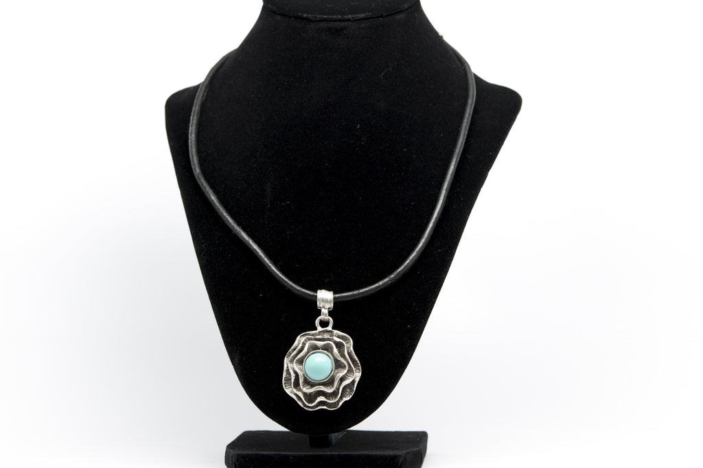 Turquoise Stone Flower Antique Silver Plated Necklace with Adjustable Leather Cord - Orti Jewelry