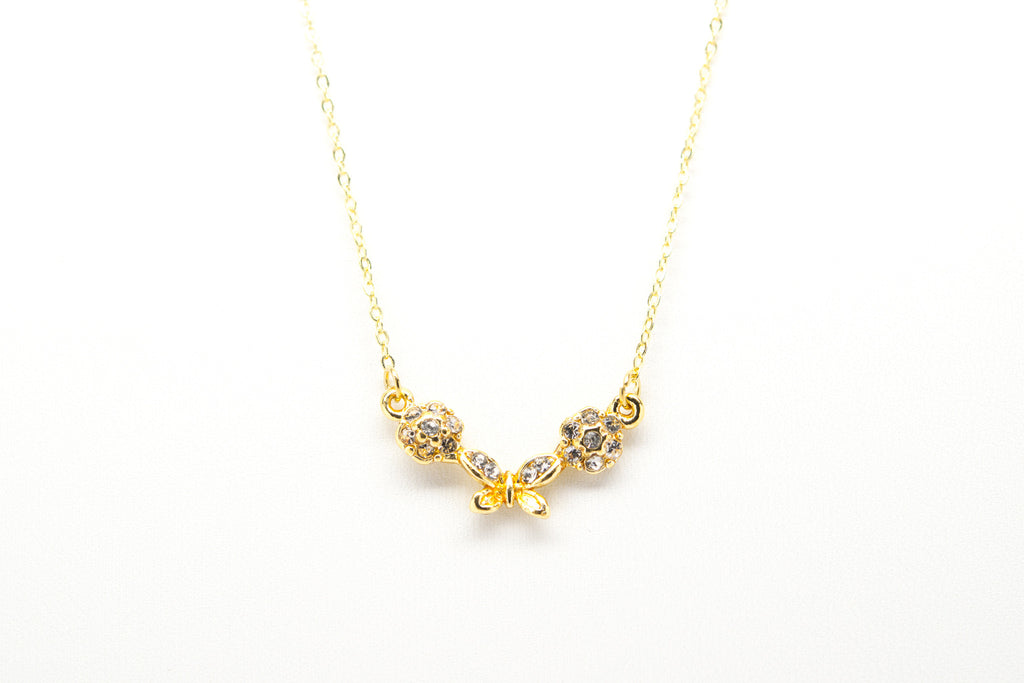 Butterfly Gold Plated Necklace with Cubic Zirconia - Orti Jewelry