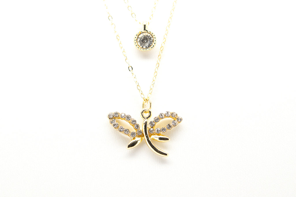 Dragonfly Gold Plated Double Necklace with Cubic Zirconia - Orti Jewelry
