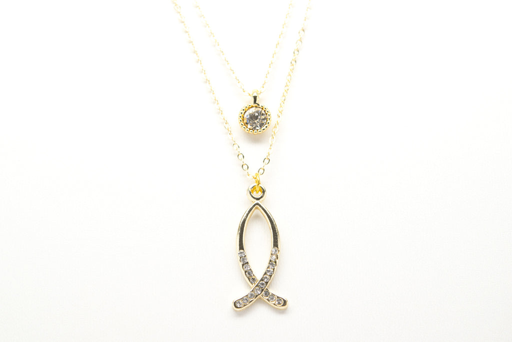 Fish Gold Plated Double Necklace with Cubic Zirconia - Orti Jewelry