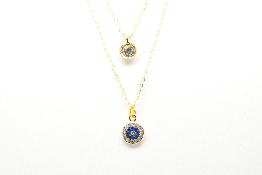 Evil Eye Gold Plated Double Necklace with Cubic Zirconia - Orti Jewelry