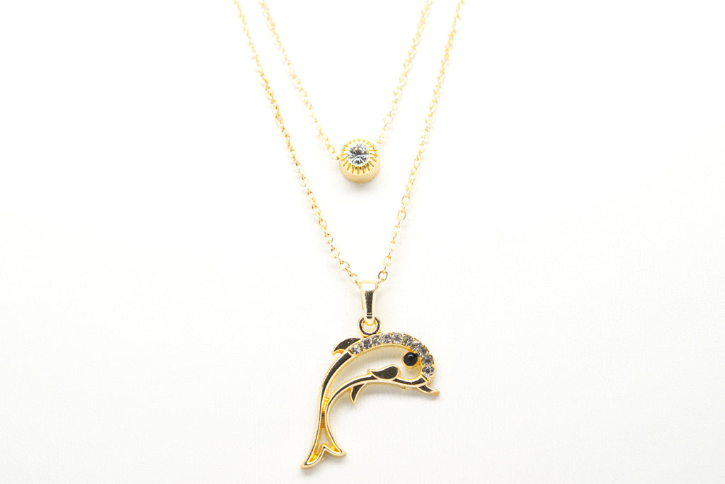 Dolphin Gold Plated Double Necklace with Cubic Zirconia - Orti Jewelry
