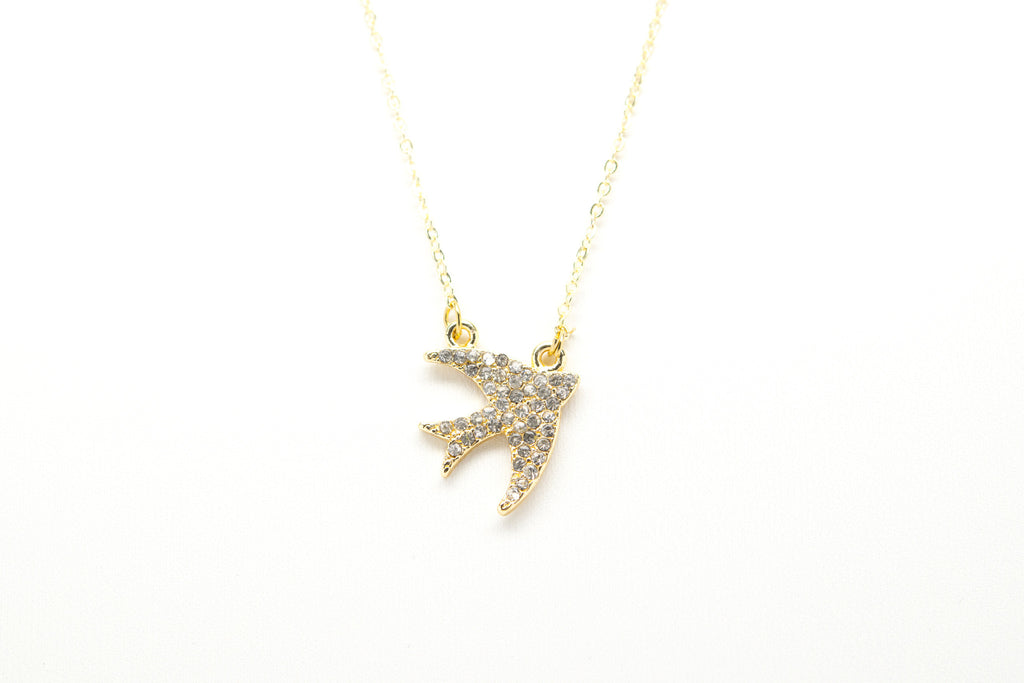 Bird Swallow Gold Plated Double Necklace with Cubic Zirconia - Orti Jewelry