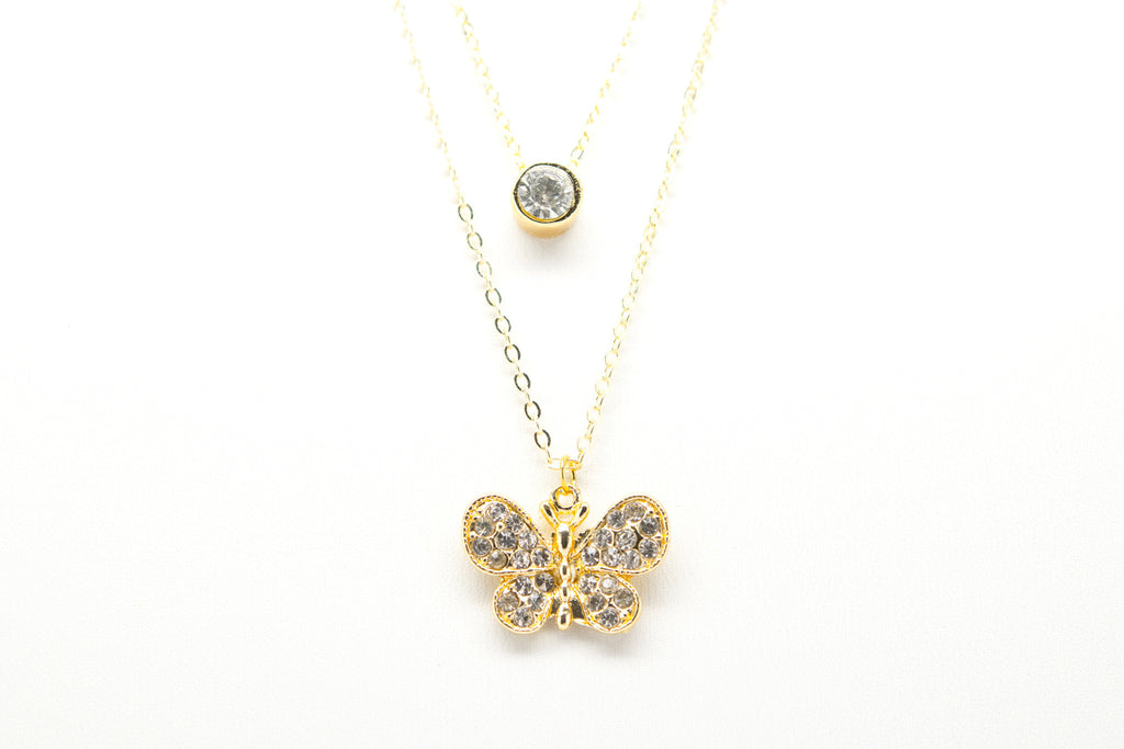 Butterfly Gold Plated Double Necklace with Cubic Zirconia - Orti Jewelry