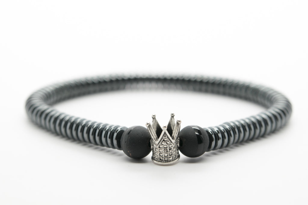 Hematite Stone Unisex Beaded Bracelet with Crown - Orti Jewelry