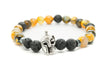 Orange Agate and Black Lava Gemstones Beaded Bracelet for Men and Women