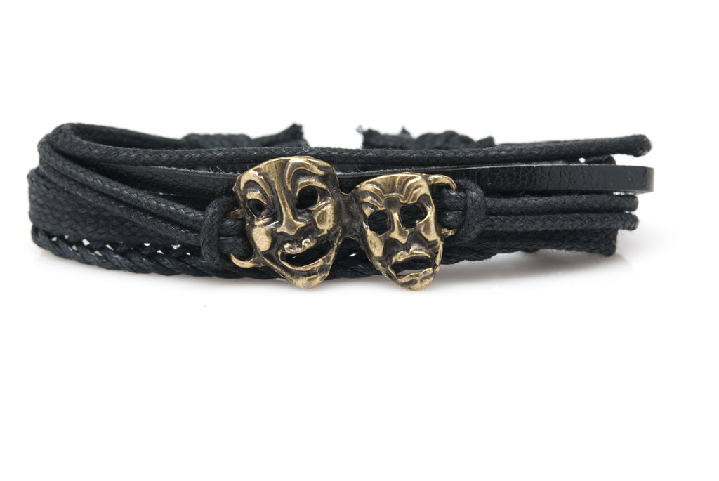 Comedy Tragedy Masks Rope and Leather Adjustable Unisex Charm Bracelet - Orti Jewelry