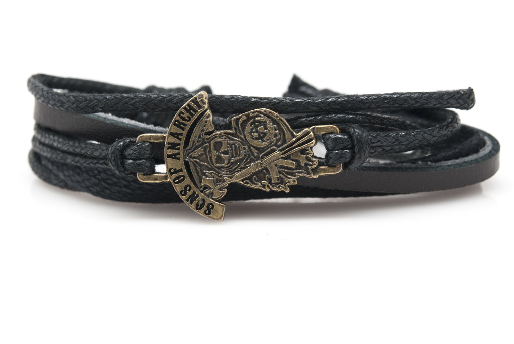 Sons of Anarchy Rope and Leather Adjustable Unisex Charm Bracelet - Orti Jewelry