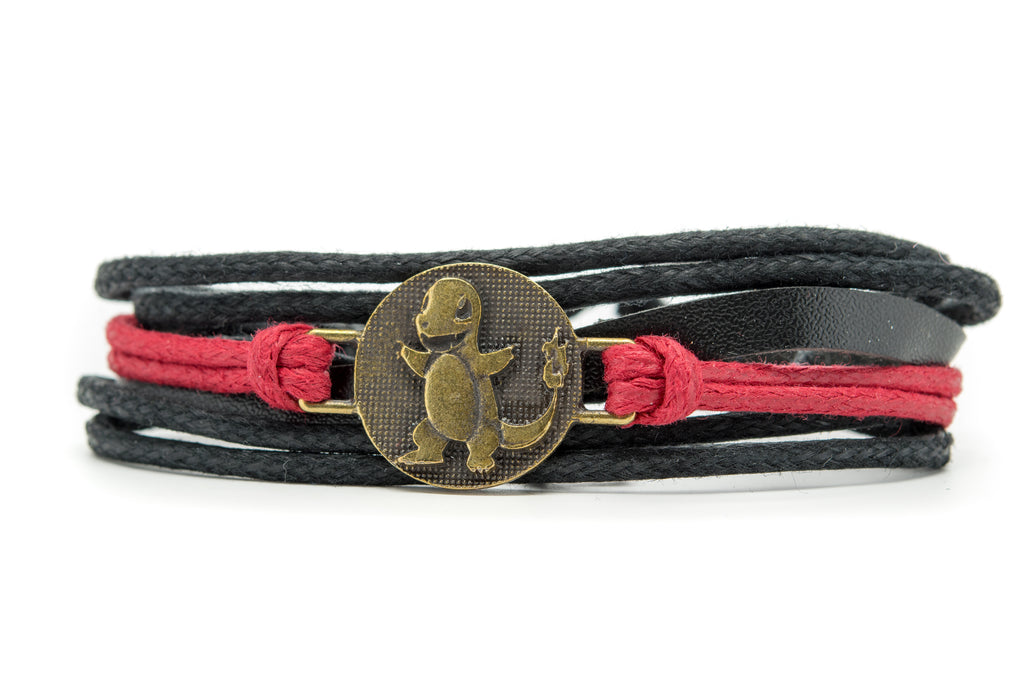 Pokemon Balthazar Rope and Leather Adjustable Unisex Charm Bracelet - Orti Jewelry