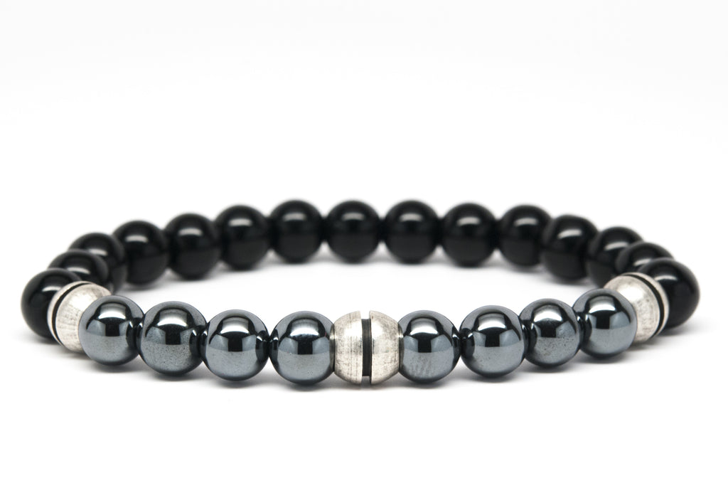 Black Onyx and Hematite Beaded Mens Bracelet - Orti Jewelry