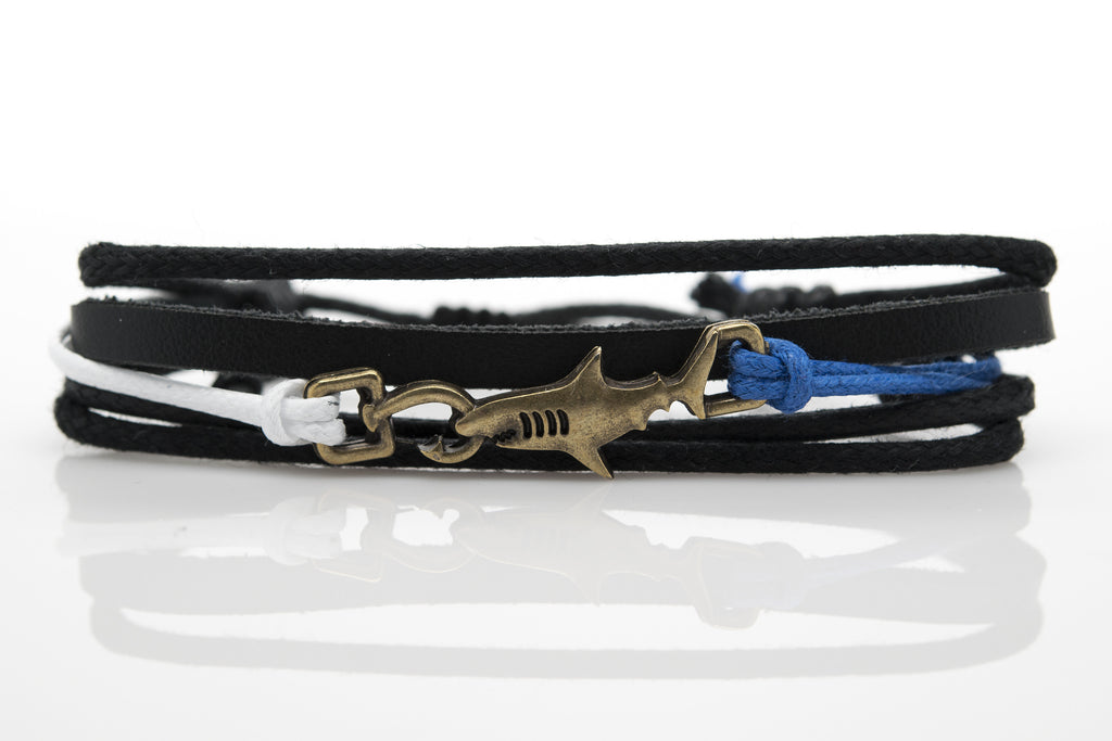 Shark Hook White Blue Rope and Black Leather Adjustable Unisex Charm Bracelet