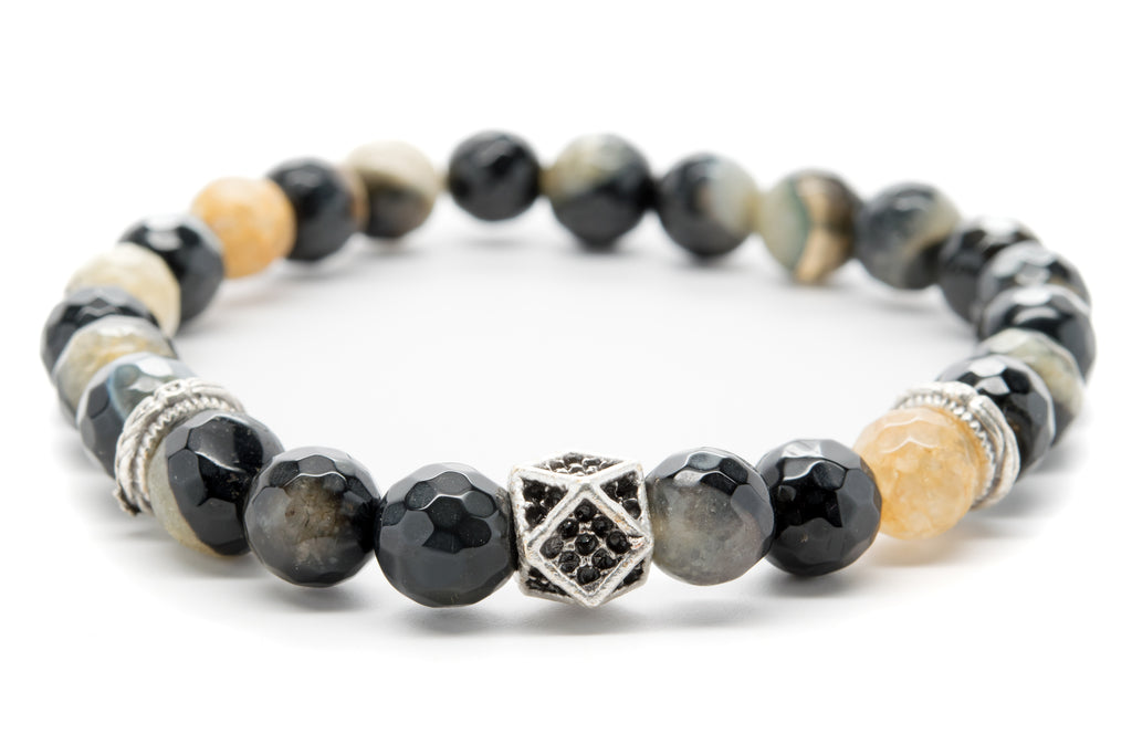 Black and Brown Agate Gemstones Beaded Bracelet for Men and Women