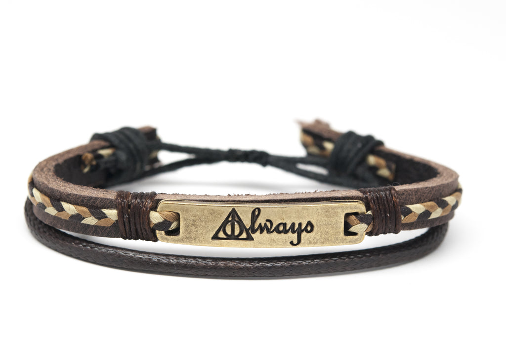 ALWAYS Metal Plate Leather Adjustable Unisex Bracelet - Orti Jewelry