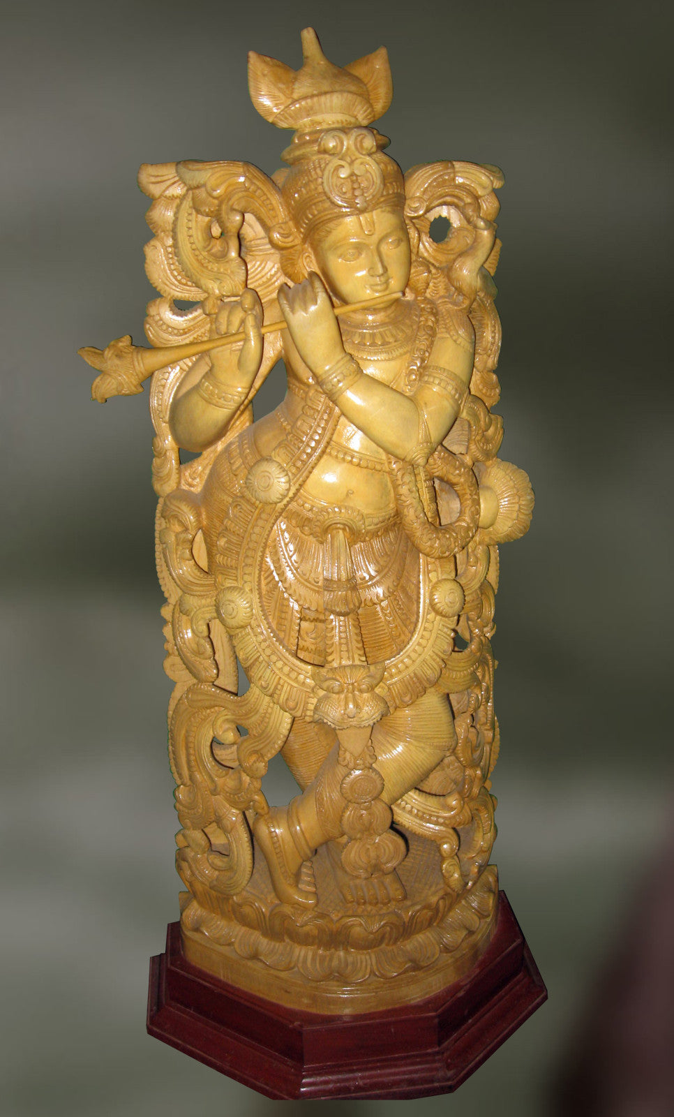 Channapatna wood sculpture of lord krishna playing flute