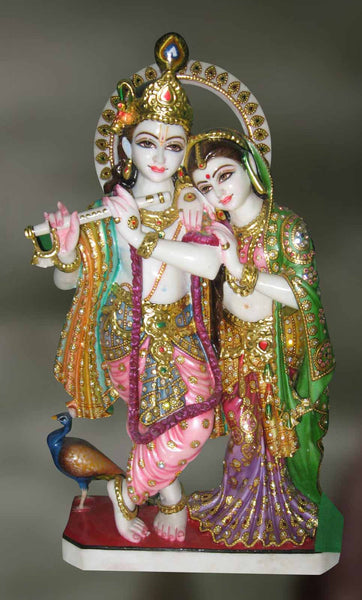 Handcrafted Marble Sculpture Of Radha And Krishna