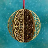 Wood Laser Cut 3D Round Ornaments - 4 Piece Set