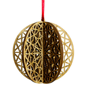 Wood Laser Cut 3D Ornament in Celestial Round Design