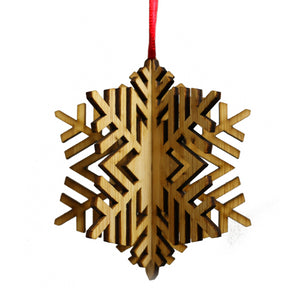 Wood Laser Cut 3D Ornament in Cheverie Snowflake Design