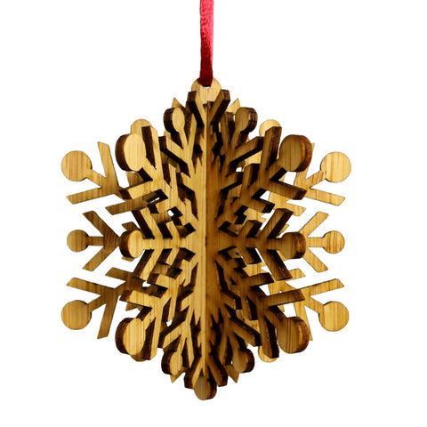 Wood Laser Cut 3D Ornament in Classic Snowflake Design