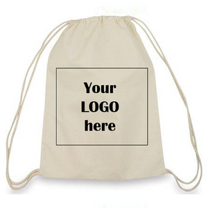 Small Drawstring Canvas Backpack with Custom Logo - One Dozen