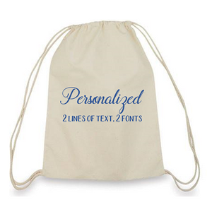Personalized Small Drawstring Canvas Backpack - One Dozen