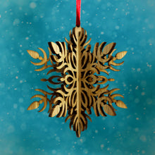 Load image into Gallery viewer, Wood Laser Cut 3D Ornament in Fleur Snowflake Design