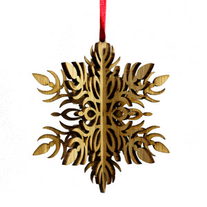 Wood Laser Cut 3D Ornament in Fleur Snowflake Design