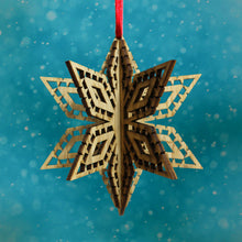 Load image into Gallery viewer, Wood Laser Cut 3D Ornament in Picado Snowflake Design