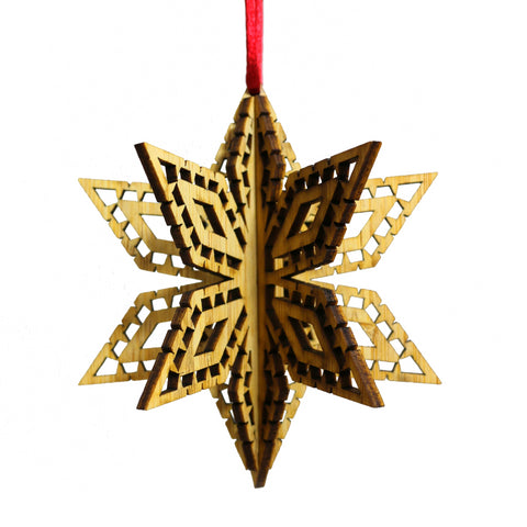 Wood Laser Cut 3D Ornament in Picado Snowflake Design