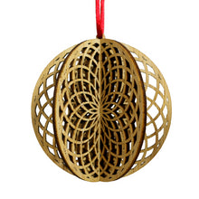 Load image into Gallery viewer, Wood Laser Cut 3D Ornament in Sacred Round Design