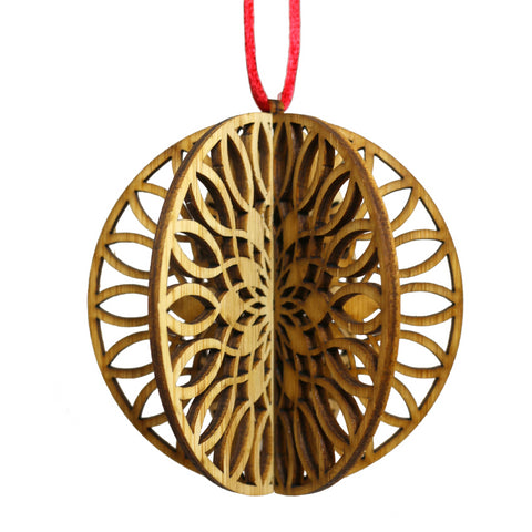 Wood Laser Cut 3D Ornament in Soleil Round Design