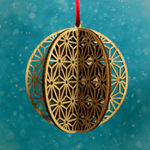 Load image into Gallery viewer, Wood Laser Cut 3D Round Ornaments - 4 Piece Set