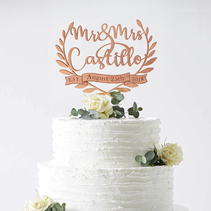 Personalized Wreath Acrylic Cake Topper