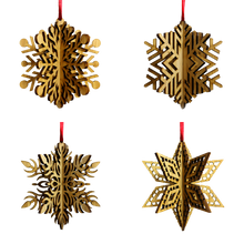 Load image into Gallery viewer, Wood Laser Cut 3D Snowflake Ornaments - 4 Piece Set