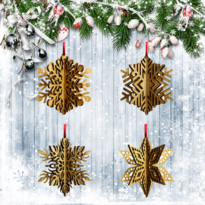 Wood Laser Cut 3D Snowflake Ornaments - 4 Piece Set