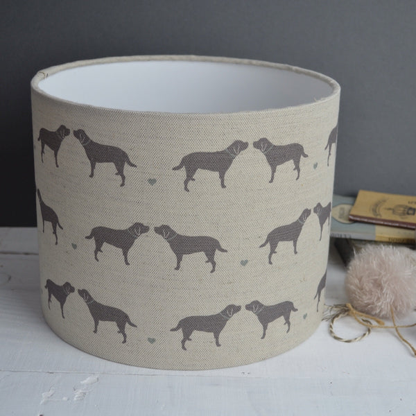 Labrador & Hearts Linen Drum Lampshade - Lolly & Boo - 1