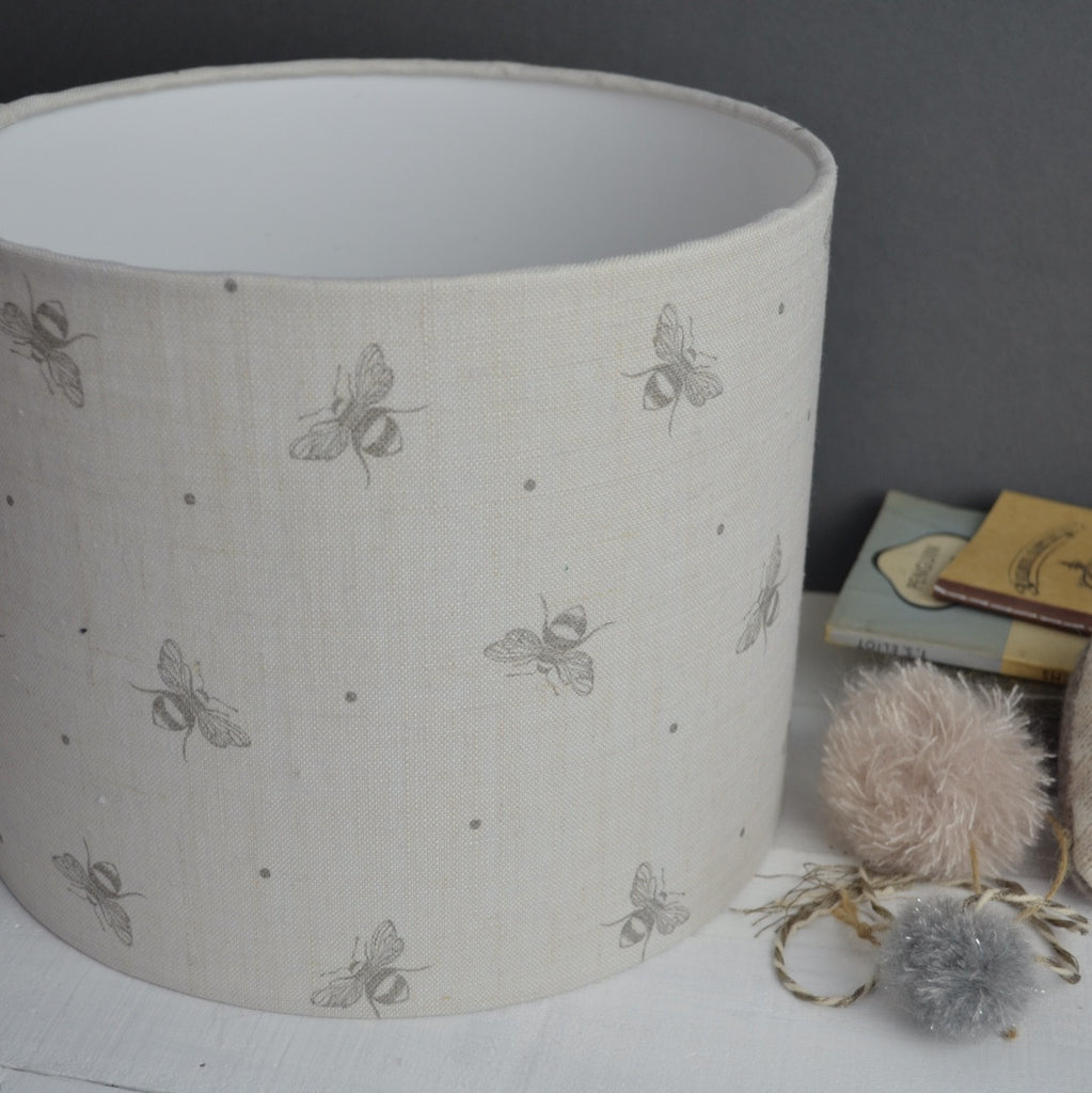 Grey Busy Bees Linen Drum Lampshade - Lolly & Boo - 1