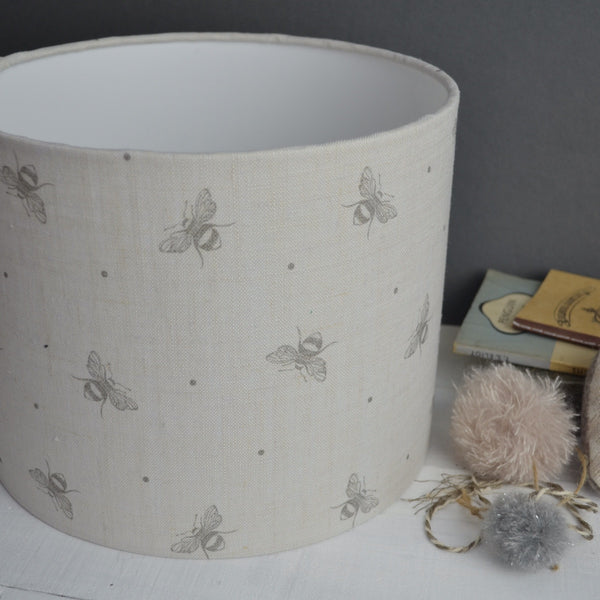 Peony & Sage Mink Grey Busy Bees Linen - Offcut - Lolly & Boo